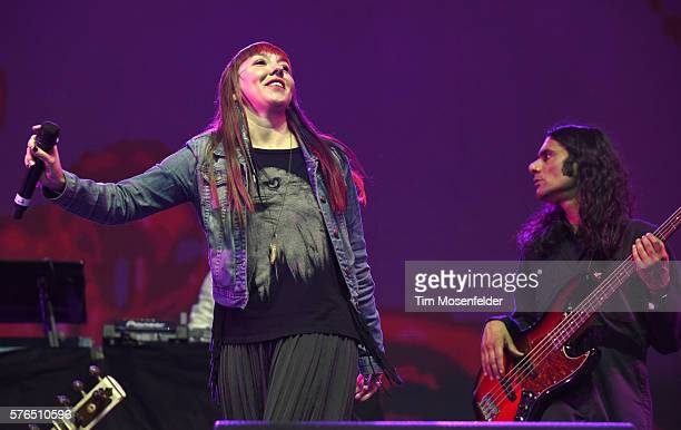Members of Thievery Corporation perform during the Pemberton Music Festival on July 14 2016 in Pemberton Canada