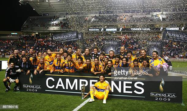 Members of Tigres UANL including captain Fernando Ortiz celebrate winning the SuperLiga 2009 Final against the Chicago Fire on August 5 2009 at...