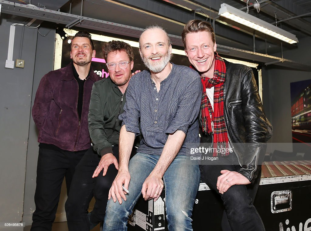Members of Travis pose for a photo after performing songs from their new album 'Everything At Once' at HMV Oxford Street on April 30, 2016 in London, England.
