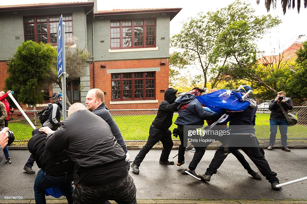 Members of True Blue Crew are met with violence from the leftist group ANTIFA on May 28, 2016 in Melbourne, Australia. Violence erupted when participants in a 'Say No To Racism' rally protesting the forced closure of Aboriginal communities, off-shore detention centres and Islamophobia met with a counter 'Anti-Islam rally organised by the True Blue Crew and backed by the United Patriots Front.