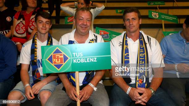 Members of TuS Koblenz pose during the DFB Cup Draw at Deutsches Fussballmuseum on June 11 2017 in Dortmund Germany