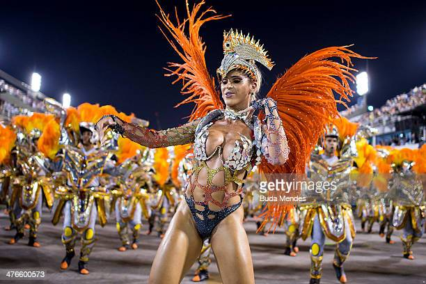 Members of Unidos da Tijuca Samba School during their parade at 2014 Brazilian Carnival at Sapucai Sambadrome on March 03 2014 in Rio de Janeiro...