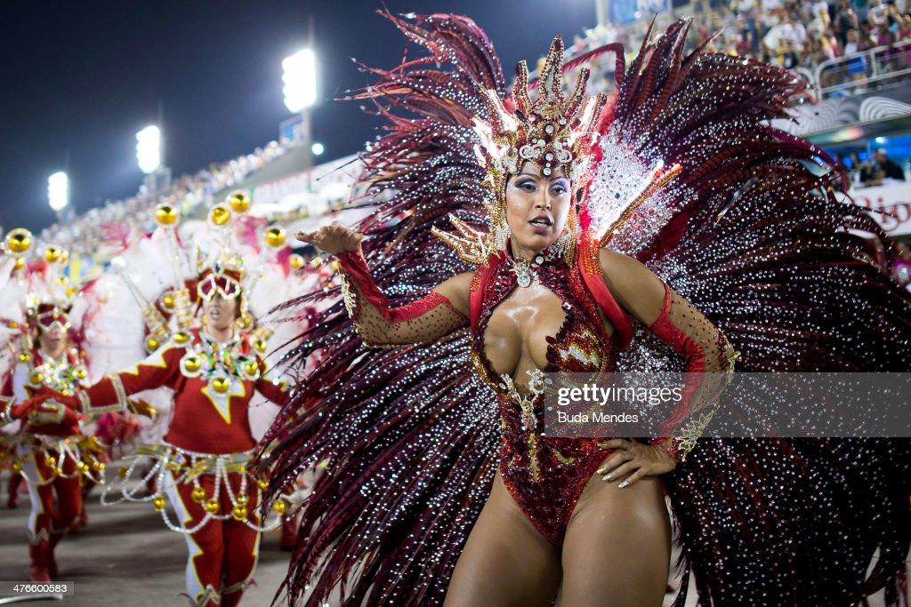 Members of Unidos da Tijuca Samba School during their parade at 2014 Brazilian Carnival at Sapucai Sambadrome on March 03 2014 in Rio de Janeiro...