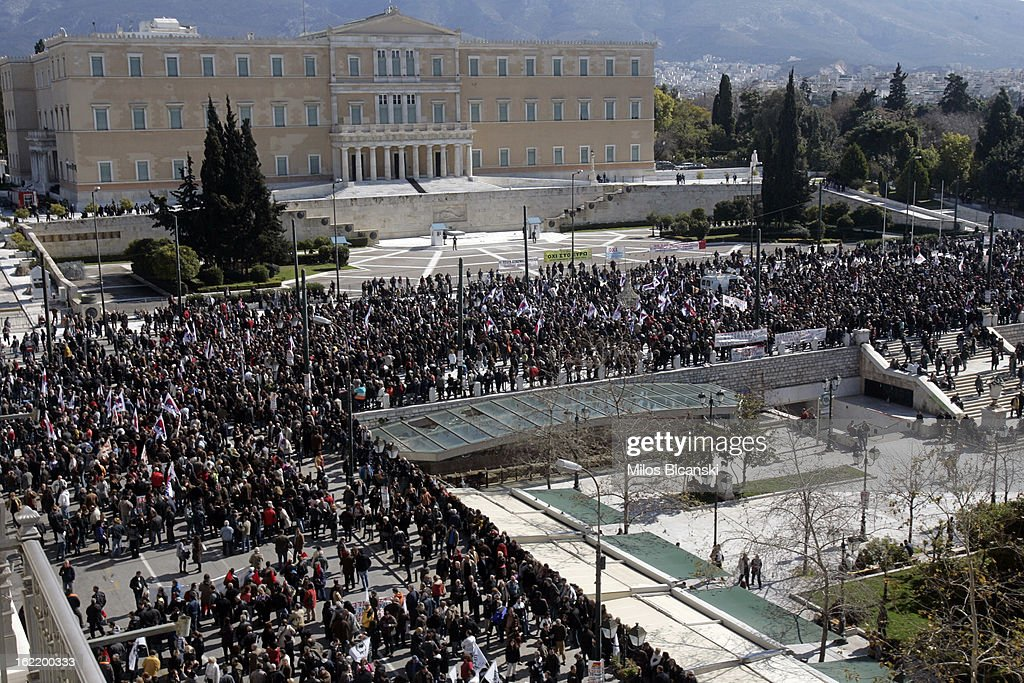 Members of union PAME gather outside Greece's parliament during a protest on February 20, 2013 in Athens, Greece. Unions have launched general strike against austerity measures in Greece, amid predictions unemployment in the crisis-hit country will reach 30 percent this year.