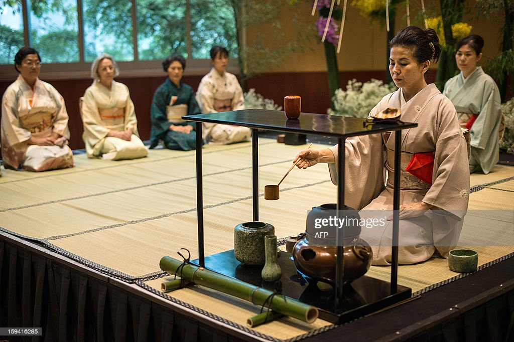 Members of Urasenke, a Japanese tea ceremony school, attend the first tea ceremony of the new year at a hotel in Sao Paulo, Brazil, on January 13, 2013. The school in Brazil has about 300 members and this year celebrates its 59th anniversary.