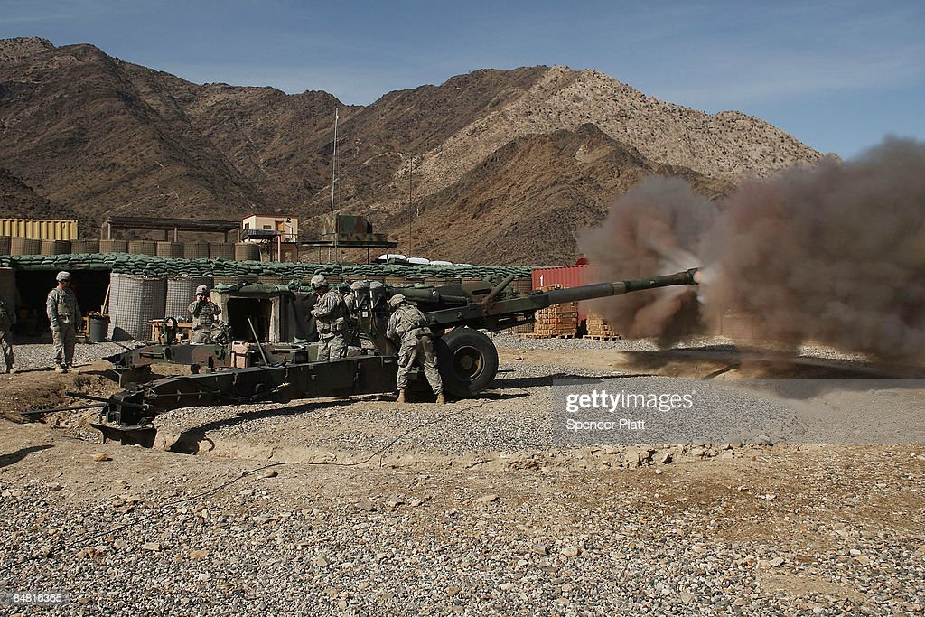 Members of US Army 16 Field Artillery Unit fire a M198 Howitzer for calibration on Forward Operating Base Kala Gush on February 16 2009 in Kala Gush...