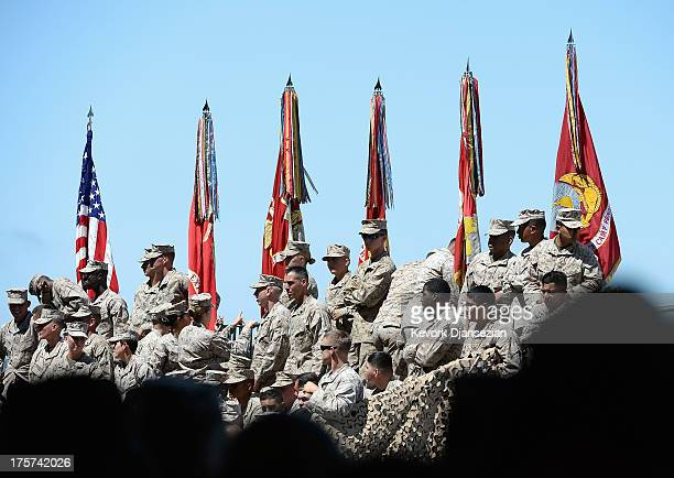 Members of US Marine Corps wait for the arrival of US President Barack Obama to deliver remarks during his visit at Camp Pendleton Marine Corps base...