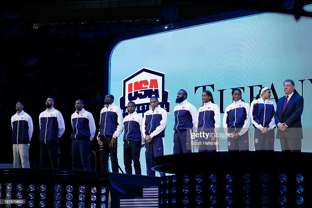 Members of USA basketball including USA Basketball president <a gi-track='captionPersonalityLinkClicked' href=/galleries/search?phrase=Jerry+Colangelo&family=editorial&specificpeople=216503 ng-click='$event.stopPropagation()'>Jerry Colangelo</a> stand on the stage before the Taco Bell Skills Challenge part of 2013 NBA All-Star Weekend at the Toyota Center on February 16, 2013 in Houston, Texas.