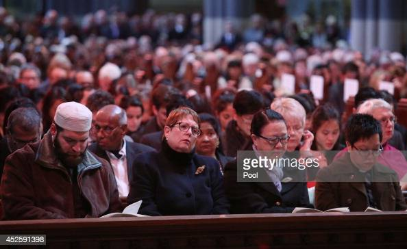 Members of various religions attend the Multifaith memorial service held for victims of the MH17 disaster at St Paul's Cathedral on July 24 2014 in...