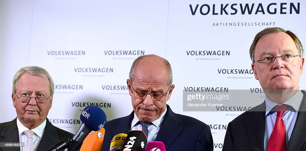 Members of Volkswagen's Supervisory board Wolfgang Porsche, <a gi-track='captionPersonalityLinkClicked' href=/galleries/search?phrase=Berthold+Huber&family=editorial&specificpeople=2087477 ng-click='$event.stopPropagation()'>Berthold Huber</a> and <a gi-track='captionPersonalityLinkClicked' href=/galleries/search?phrase=Stephan+Weil&family=editorial&specificpeople=4683319 ng-click='$event.stopPropagation()'>Stephan Weil</a> inform waiting journalists about the decision of Martin Winterkorn to resign as Volkswagen CEO during a press conference at Volkswagen production plant on September 23, 2015 in Wolfsburg, Germany. Volkswagen CEO Martin Winterkorn and other members of the supervisior board are believed to meet inside the headquarters to discuss the Volkswagen Diesel emission scandal, which affects 11 million vehicles worldwide.