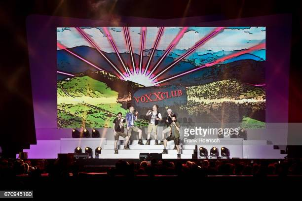 Members of Voxxclub perform live during the show 'Das grosse Schlagerfest' at the MercedesBenz Arena on April 20 2017 in Berlin Germany