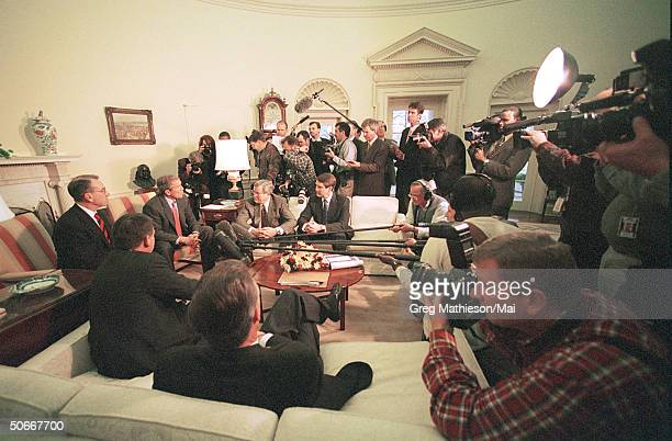 Members of White House Press Corps at meeting of President George W Bush and members of Congress in the Oval Office