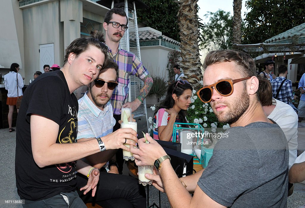 Members of Wild Nothings attend the Soho House Pop Up with Bacardi during Coachella 2013 at Merv Griffin Estate on April 20, 2013 in La Quinta, California.