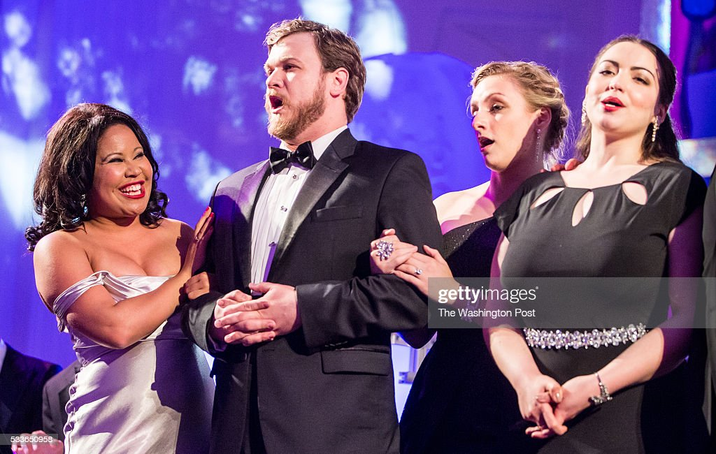 Members of WNO's Domingo-Cafritz Young Artist Program: Ariana Wehr, Hunter Enoch, Aleksandra Romano, and Raquel Gonzalez perform at the Washington National Opera (WNO) Opera Ball at the Organization of American States on Saturday, May 21, 2016. The annual Ball celebrated the WNO's 60th anniversary season.