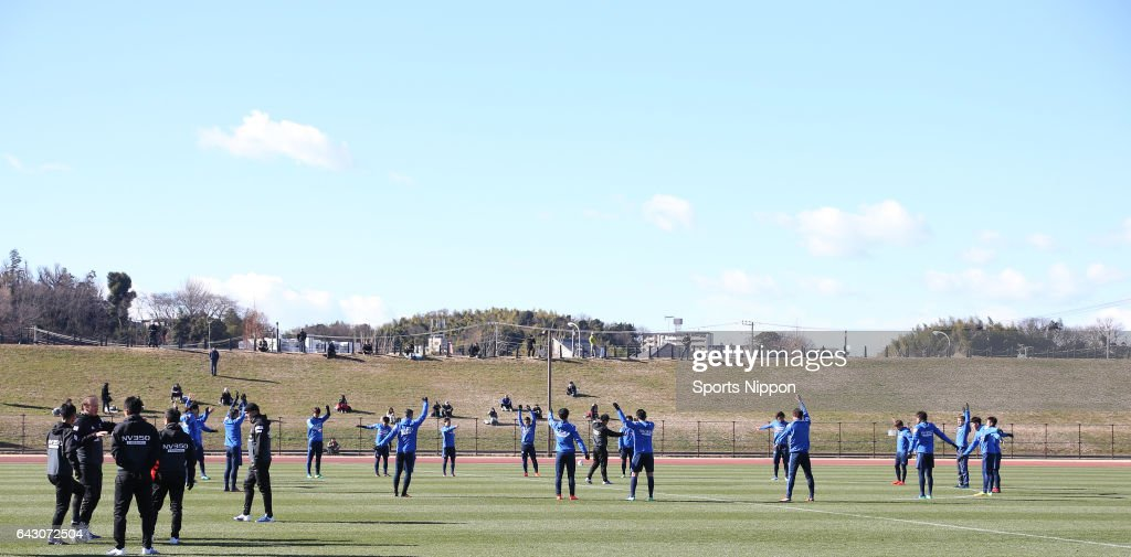 Members of Yokohama F. Marinos participate in the practice circa January 16, 2017 in Unspecified location in Japan.