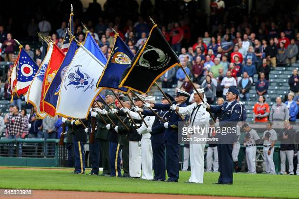 Members off all branches of the Armed Services present the colors on the 16th Anniversary of 911 prior to the Major League Baseball game between the...
