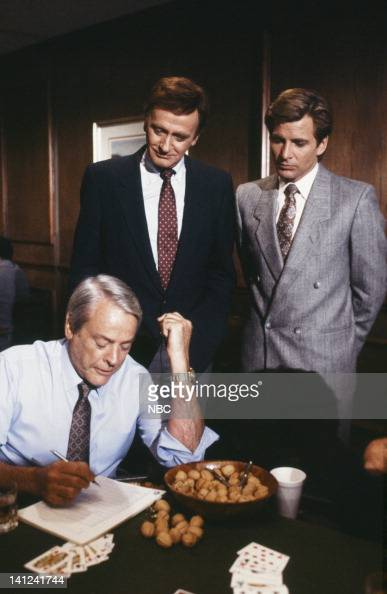 TEAM 'Members Only' Episode 15 Pictured Kevin McCarthy as Bob McKeever Barrie Ingham as Chuck LeCraw Dirk Benedict as Templeton 'Faceman' Peck Photo...