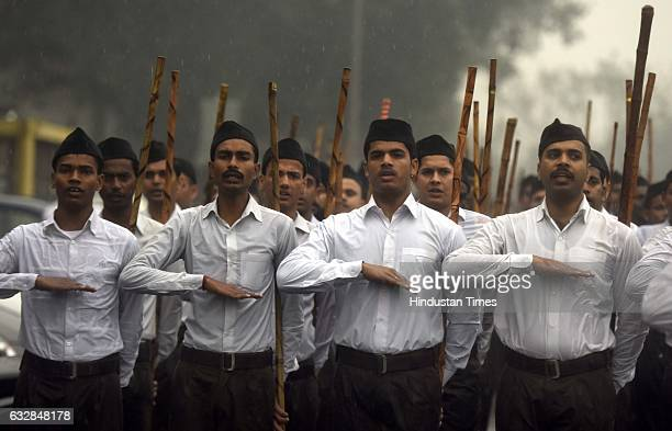 RSS members participating in 'Ajay Gantantra March' on the occasion of the 68th Republic Day parade at NPS School to inner circle Connaught place on...