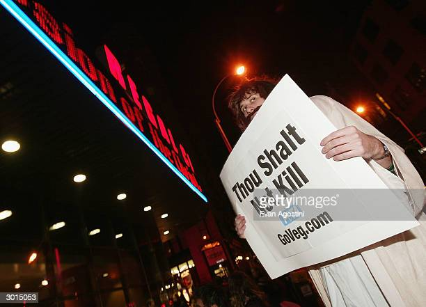 PETA members protest outside 'The Passion of the Christ' movie opening at the Regal Cinemas 14 February 24 2004 in New York City
