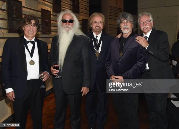 HOF members Randy Owen of Alabama joins Richard Sterban William Lee Golden Duane Allen and Joe Bonsall of The Oak Ridge Boys attend the Country Music...