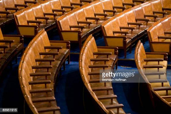 Members' seats in the US House of Representatives chamber are seen December 8 2008 in Washington DC Members of the media were allowed access to film...