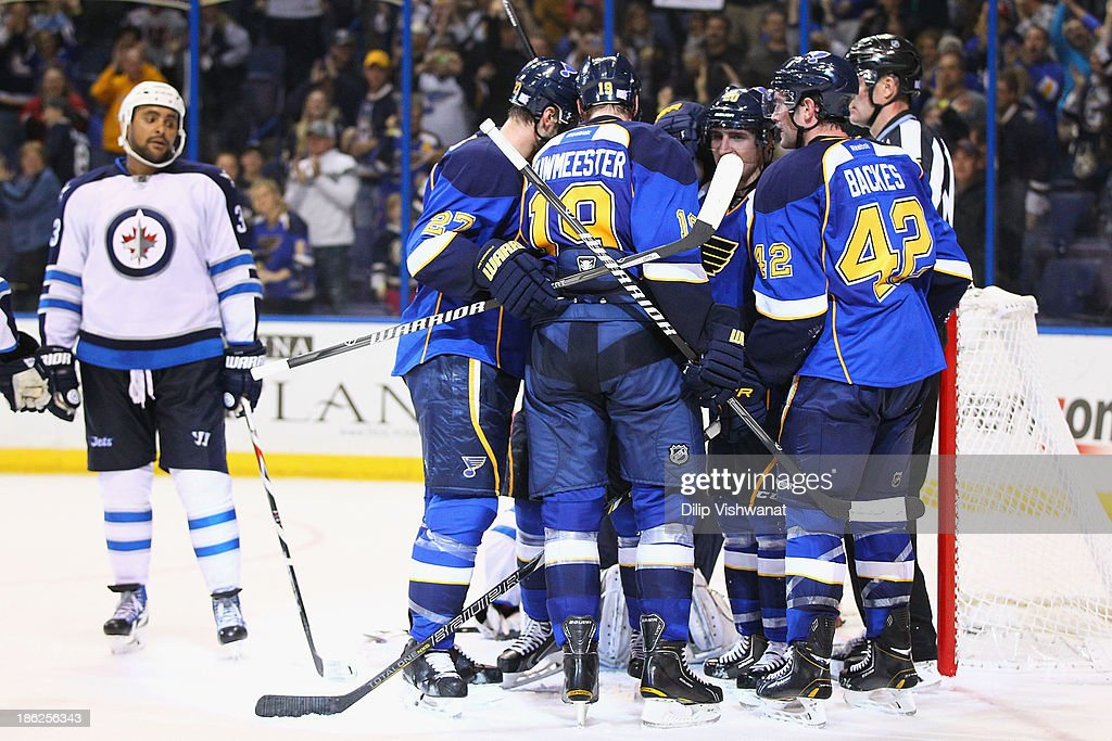 Members St. Louis Blues celebrate their game-winning goal against the Winnipeg Jets at the Scottrade Center on October 29, 2013 in St. Louis, Missouri. The Blues beat the Jets 3-2.