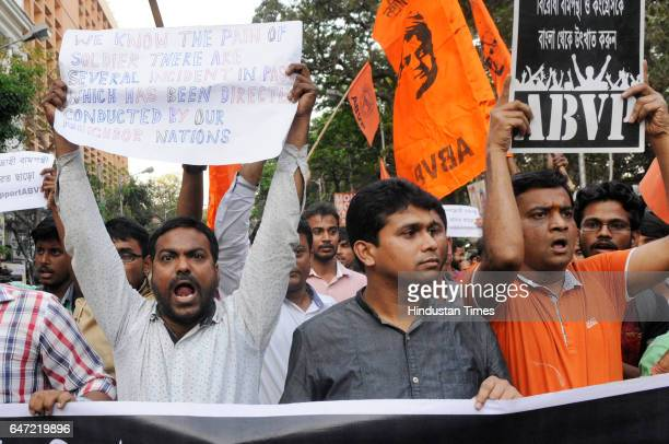 ABVP members stage a protest rally against SFI and AISA regarding Ramjas College of Delhi incident at College Square on March 2 2017 in Kolkata India
