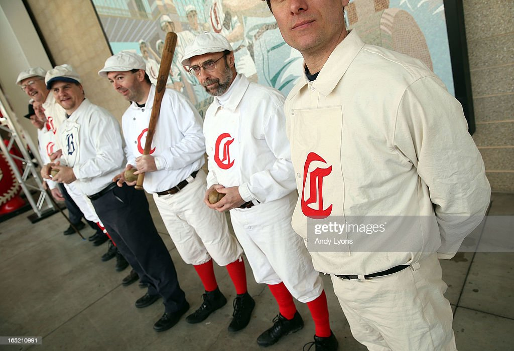 Members the Cincinnati Vintage Baseball Club pose before the start of the Los Angeles Angels of Anaheim game against the Cincinnati Reds at Great American Ball Park on April 1, 2013 in Cincinnati, Ohio.