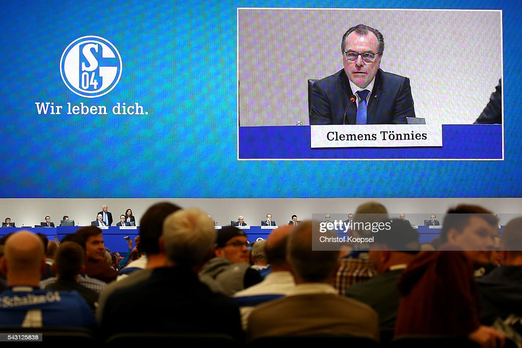Members vote during the FC Schalke 04 general assembly at Veltins Arena on June 26, 2016 in Gelsenkirchen, Germany.