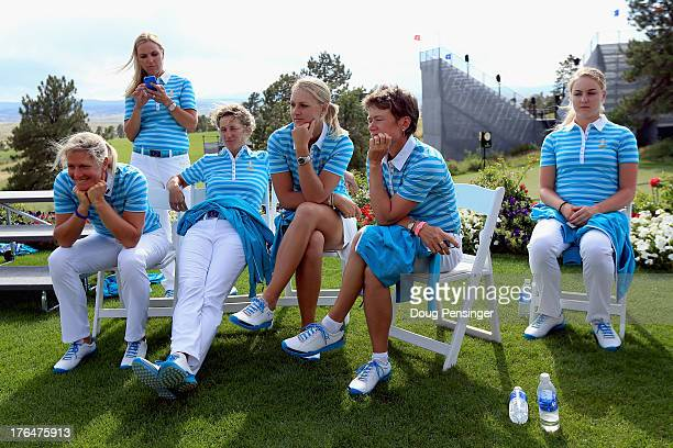 Memebers of the 2013 European Solheim Cup Team Suzann Pettersen of Norway Carin Koch of Sweden Guilia Sergas of Italy Anna Nordqvist of Sweden...