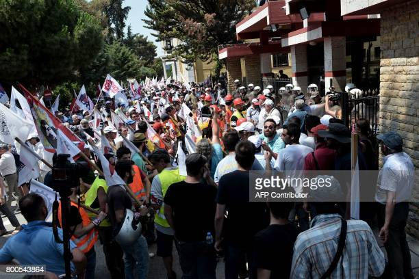 Memebers of the AllWorkers Militant Front a Greek trade union movement founded on the initiative of the Greek Communist Party demonstrate against a...