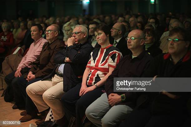 Memebers of the public listen to speakers as they attend a Grassroots Out rally at Victoria Hall on April 18 2016 in StokeonTrent England Campaigning...