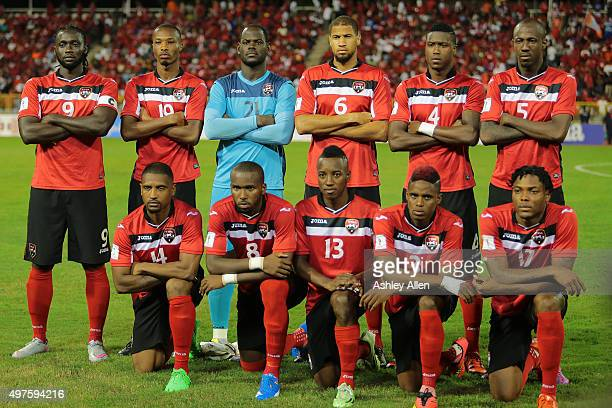 Memebers of the Trinidad and Tobago mens soccer team pose for a photo during a World Cup Qualifier between Trinidad and Tobago and USA as part of the...