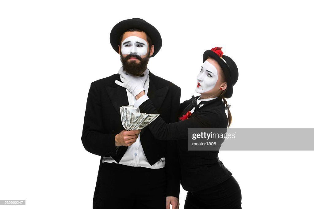 memes as businesswoman and businessman counting money : Stock Photo