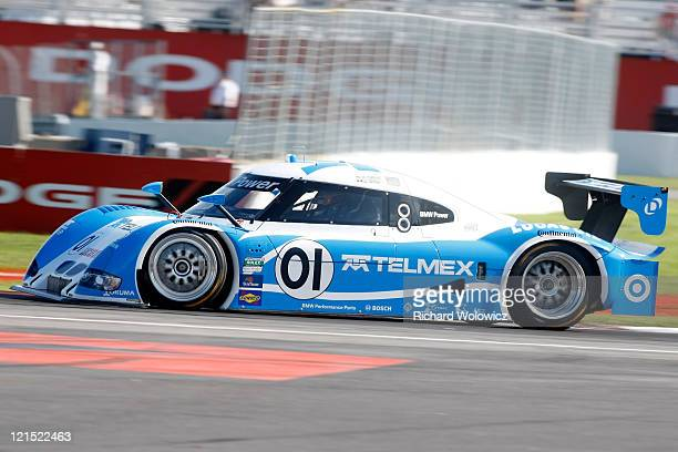 Memo Rojas in the Telmex LexusRiley run qualifying laps for the GRANDAM Rolex Sports Car Series at Circuit Gilles Villeneuve on August 19 2011 in...