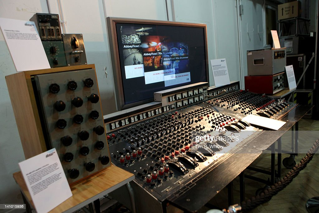 Memorabilia and equipment on show in Studio 2 at Abbey Road Studios on March 9 2012 in London England The music recording studio has been opened up...