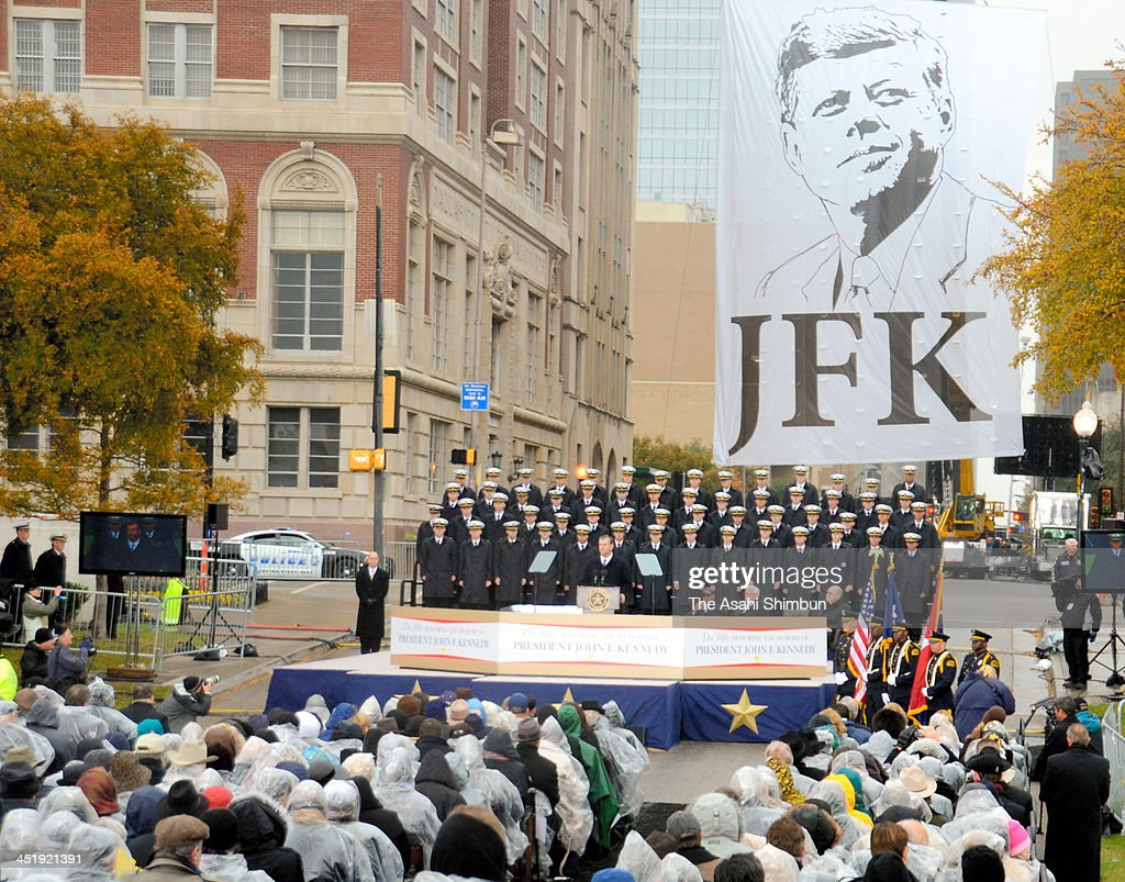A memorial ceremony to mark the 50th anniversary of John F. Kennedy assassination takes place on November 22, 2013 in Dallas, Texas.