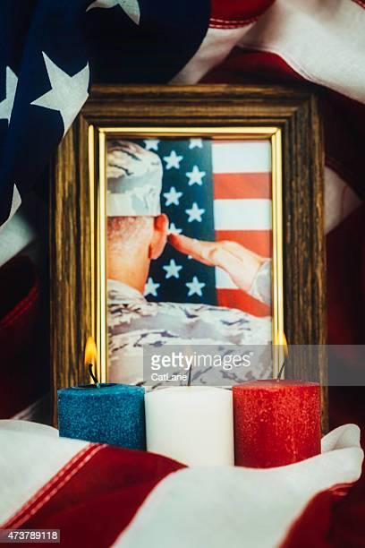 Memorial Day. Veterans Day. Military Memorial vigil with patriotic candles