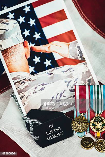 US Memorial Day. Veterans Day. Military Memorial with soldier. Medals