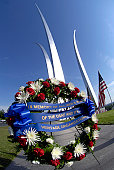 May 26, 2008 - During a Memorial Day Wreath-laying ceremony at the Air Force Memorial Chief Master of the Air Force Rodney J. McKinley pays tribute to the more than 55,000 Airman, since World War One,