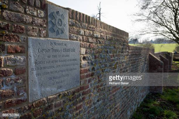 A memorial for Captain Thomas Craufurd of the 3rd Guards who died at Hougoumont Farm during the Battle of Waterloo on 25th March 2017 at Waterloo...