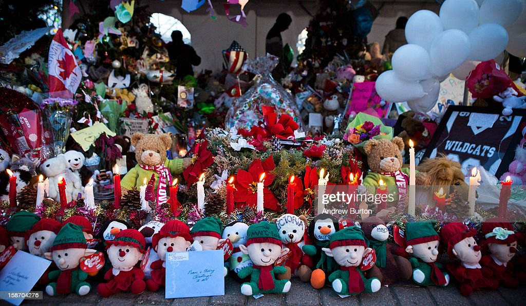 A memorial for those killed in the school shooting at Sandy Hook Elementary School is seen on December 24, 2012 in Newtown, Connecticut. Donations and letters are pouring in from across the country as the town tries to recover from the massacre.