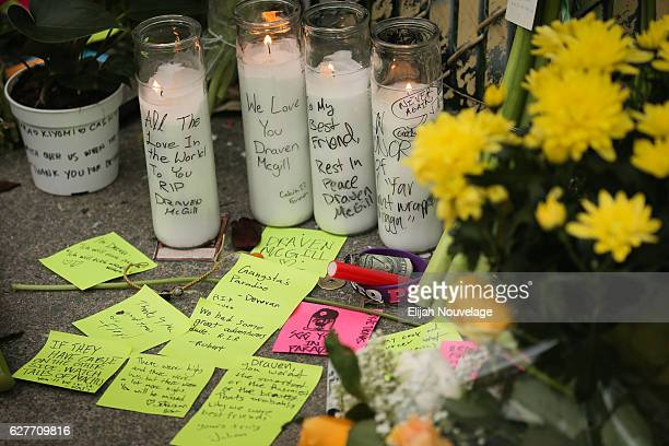 A memorial is seen near the site of a warehouse fire that has claimed the lives of at least thirtythree people on December 4 2016 in Oakland...