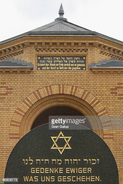 A memorial marks the entrance to Berlin's biggest Jewish cemetery where at least 30 graves were recently vandalized on April 30 2008 in Berlin...