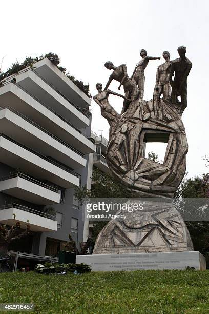 A memorial of armed militia EOKA is erected in Athens Greece on April 5 2014 EOKA was a Greek Cypriot nationalist paramilitary organisation that...
