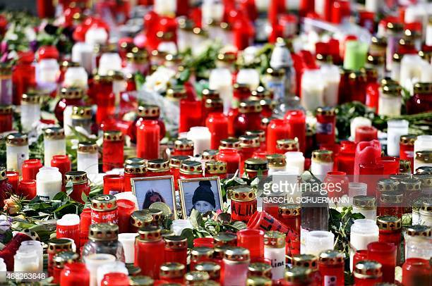 A memorial of flowers and candles can be seen in front of the JosephKoenigGymnasium secondary school in Haltern am See western Germany on April 1...