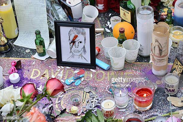 A memorial on David Bowie's star on The Hollywood Walk of Fame on January 11 2016 in Hollywood California British music and fashion icon David Bowie...