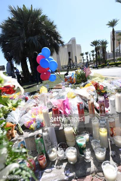 A memorial on Las Vegas Boulevard and Reno Avenue for the victims of the Route 91 Harvest country music festival shootings On October 1 lone gunman...