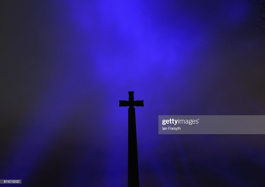 A memorial outside the historic Durham Cathedral is silhouetted during a media preview evening ahead of the Durham Lumiere event on November 14, 2017 in Durham, England. The installation was inspired by the tradition of English change ringing. The Lumiere light festival is the UK's largest light festival and comes to the City of Durham for the fifth time bringing large scale projections and light installations across the city to landmark locations.
