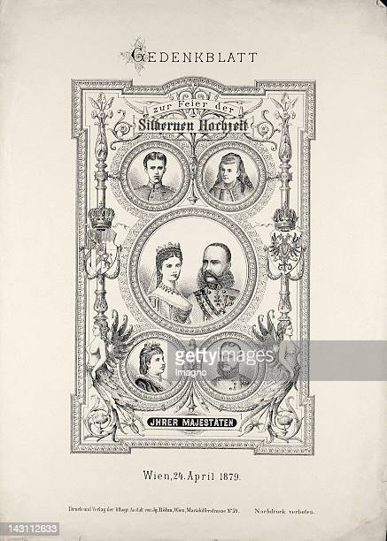 Memorial page on the occasion of the 25th wedding anniversary of Emperor Franz Joseph and Empress Elisabeth The Royal couple with their children...